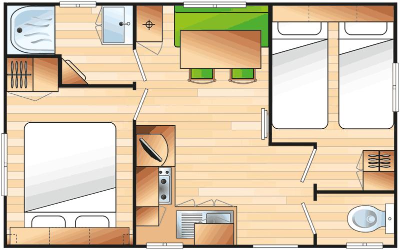 plan du mobil-home avec sanitaire - example